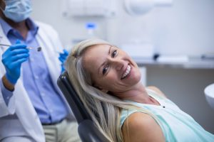 Woman in dental chair
